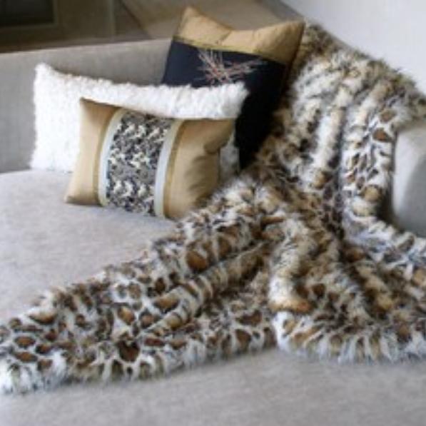 Obi-Silk Pillows and Leopard Faux Throw designed by Jennifer Ashton, Allied ASID