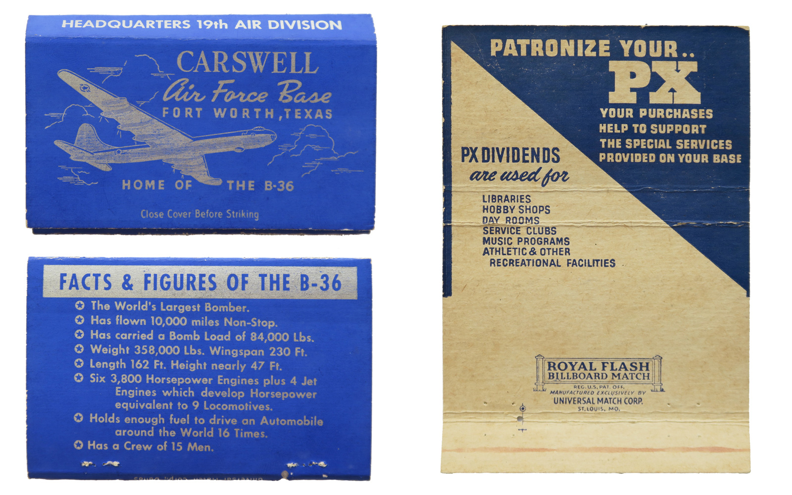 Carswell Air Force Base  - 19th Air Division / PX Advertisement - B-36