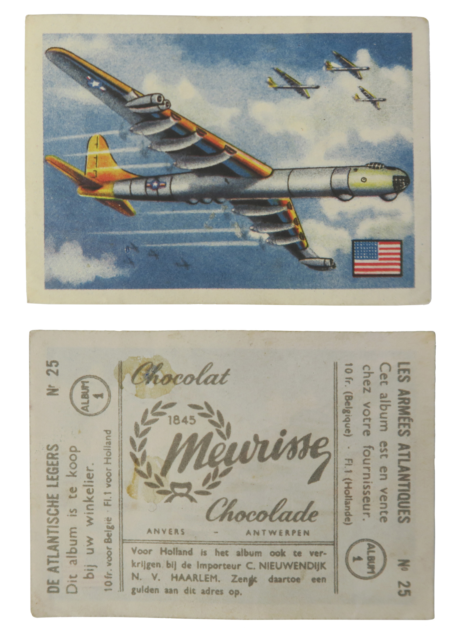 Convair B-36 #25  Series: Les Armées Atlantiques Atlantic Armies Series #25 Manufacture: Chocolat Meurisse Card Dimensions: 2.75 x 2 inches Belgium -1956