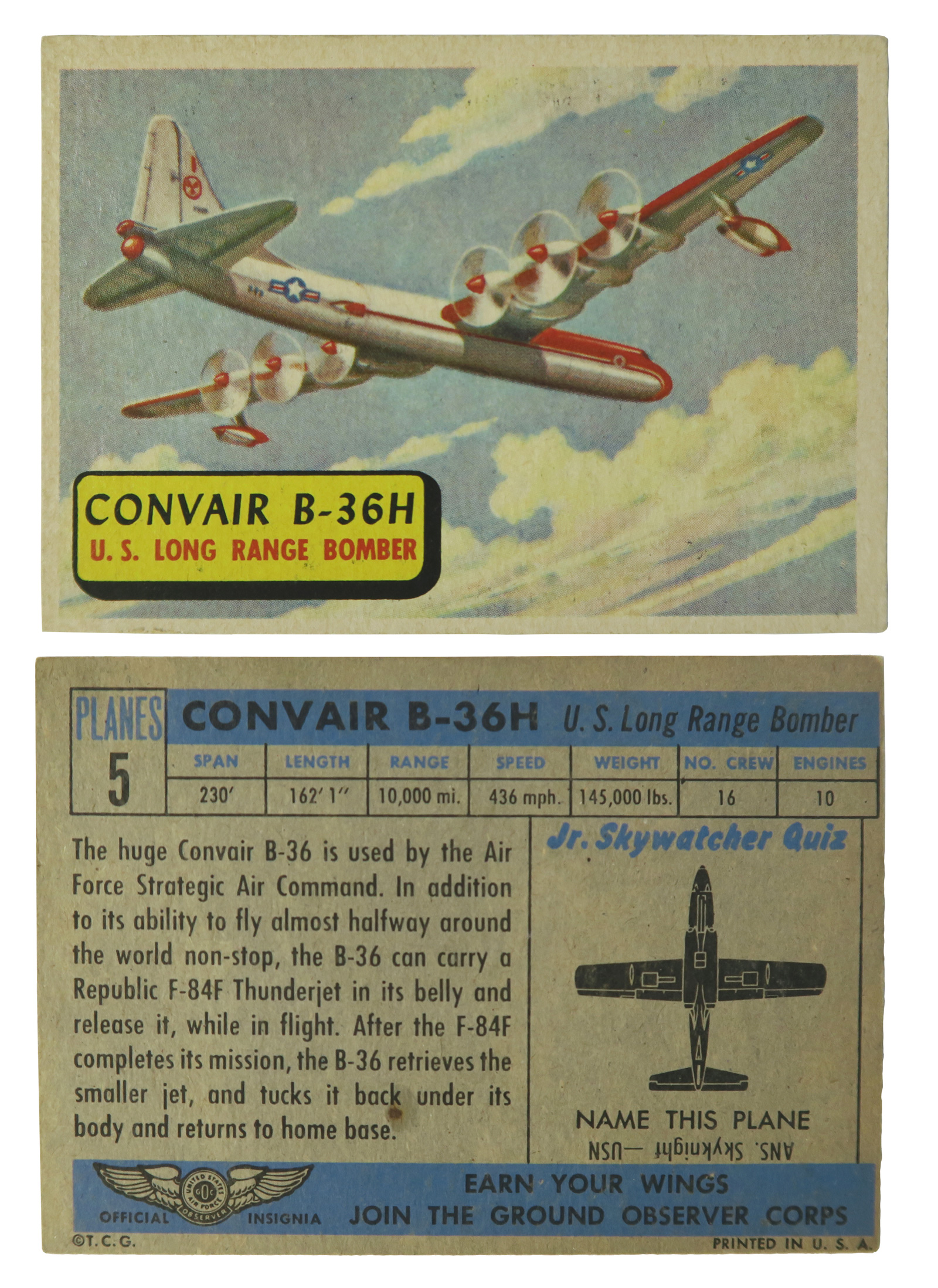 Convair B-36H #5 (Blue Back)  Series: Planes of the World Manufacture: Topps Chewing Gum Card Dimensions: 3.3 × 2.5 inches USA -1957