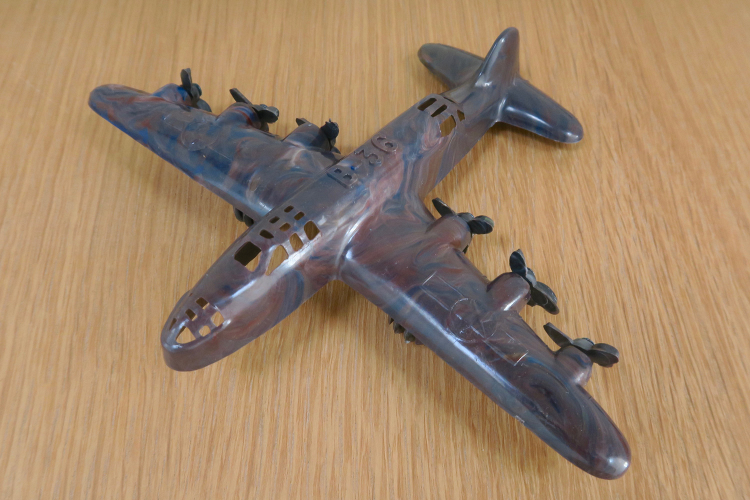 "Vibro-Roll Products / Thomas Toys: B-36   Marbled   Hard Plastic  Wingspan: 6"" (152.4mm) USA - 1950-60's"