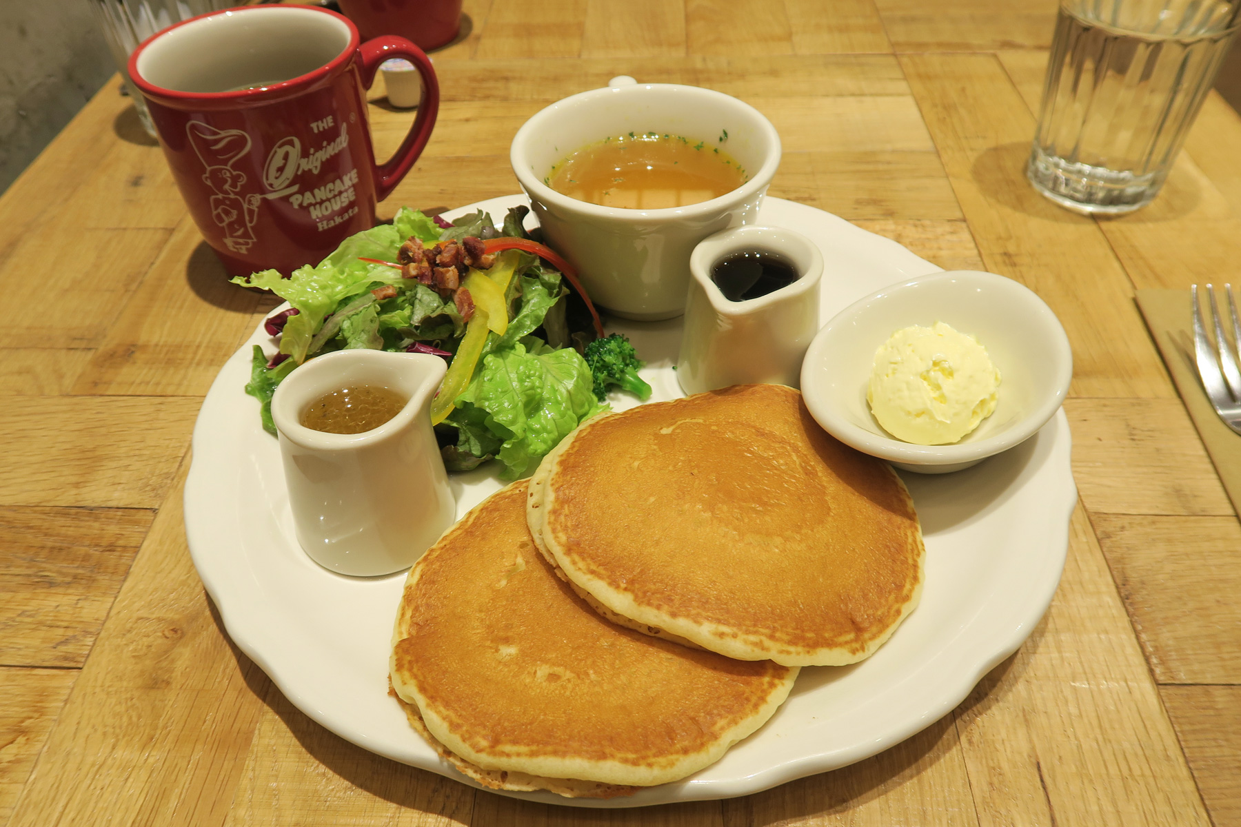 Buttermilk Pancake Set with Soup and Salad