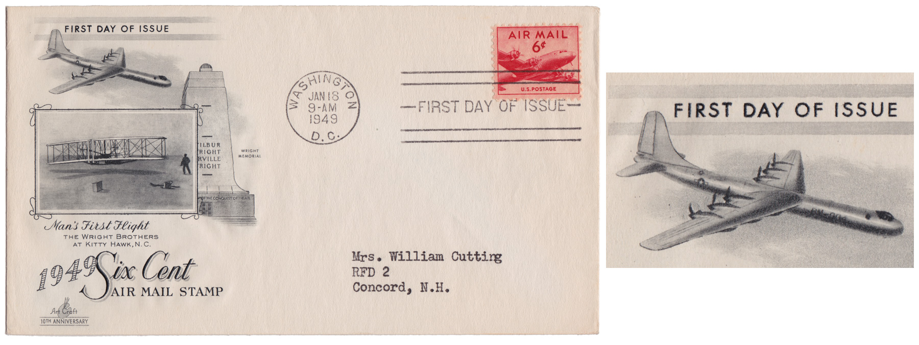 U.S. Postal Service - First Day Cover: Six Cent Air Mail Cachet Art by: ArtCraft Cachet Art: Man's First Flight / Wright Brothers with B-36 inflight First Day Issue: Washington D.C. / January 18, 1949