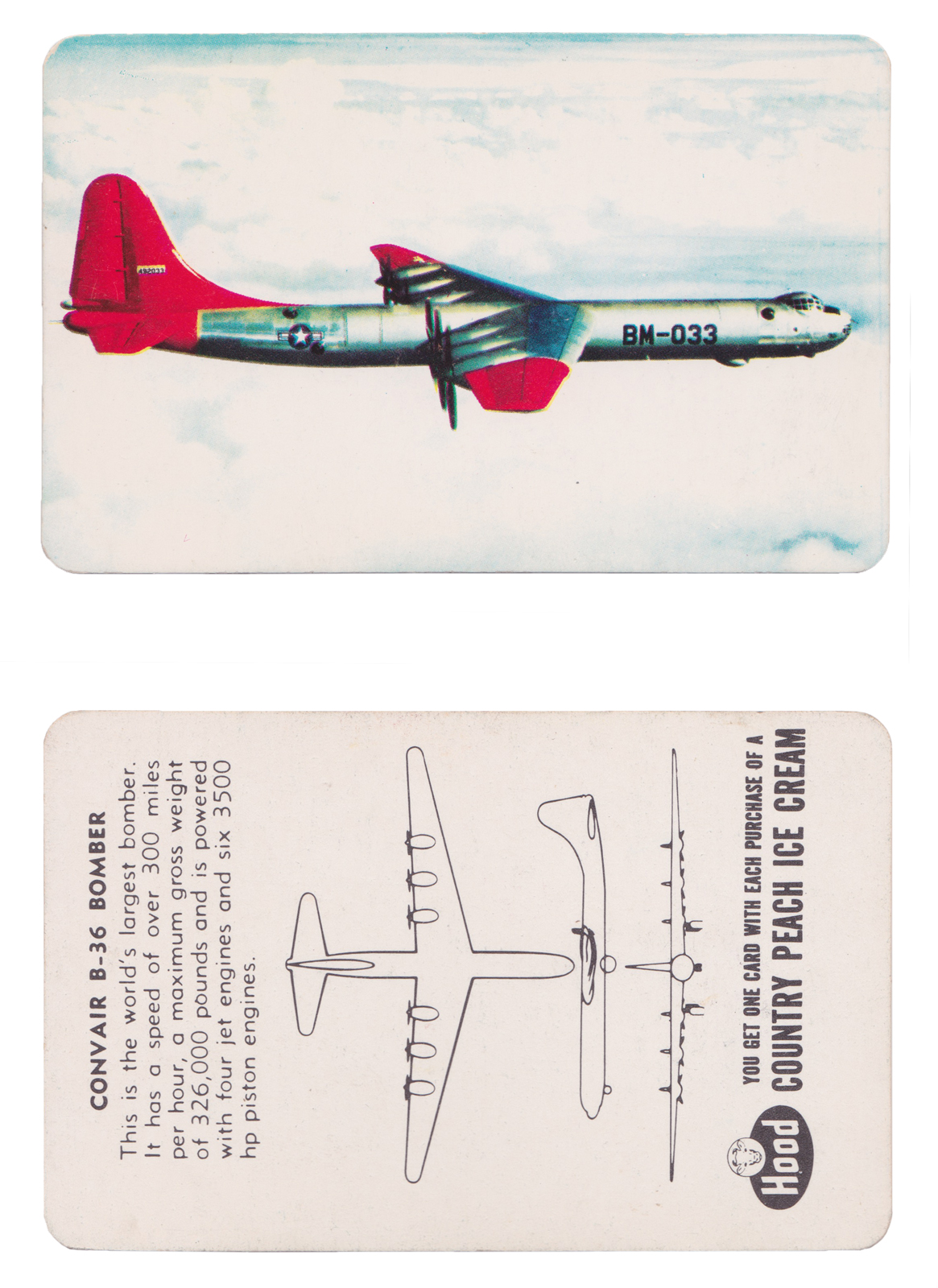 "Convair B-36 Bomber  Series: Aircraft Recognition Cards Manufacture: HP Hood LLC Card Dimensions: 3.5"" x 2.25"" USA - 1952"