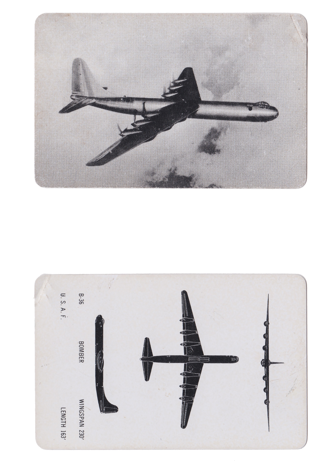 "B-36 Aircraft Spotters Card  Series: Manufacture: Card Dimensions: 3.75"" x 2.75"" USA - 1950's"