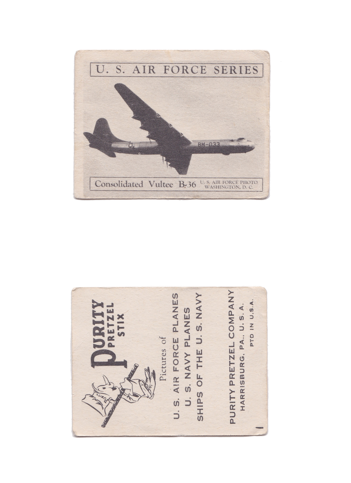 "Consolidated Vultee B-36  Series: U.S. Planes & Warships   Manufacture: Purity Pretzel Company Card Dimensions: 2.4"" × 1.85 "" USA: 1950's"