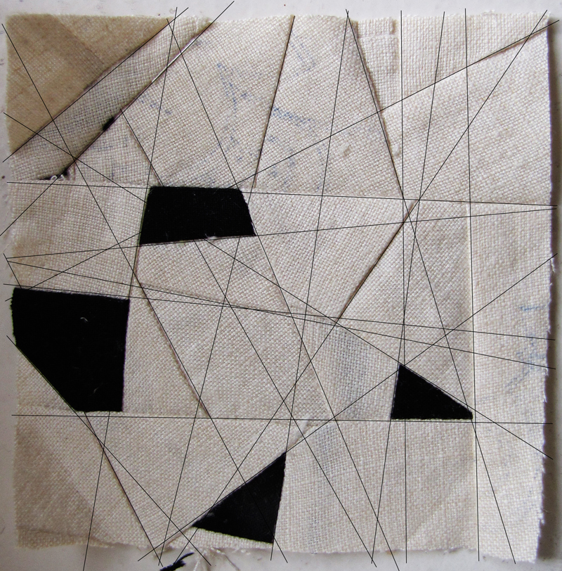 I cut up a linen tablecloth to create squares and triangles of shattered shapes as a next step in the  Traveling Unknown Pathways  idea. I love the contrast of the linen against the black fabric.