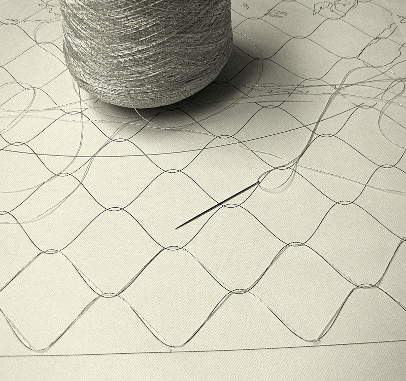 Tulle layer for chain link fence.