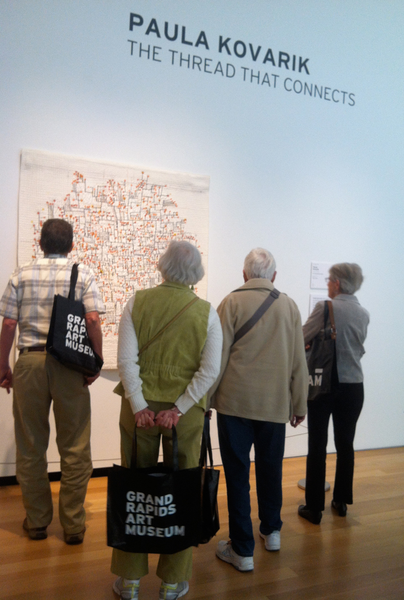 There was a steady stream of visitors pausing to consider my work. People at the museum said that over 140,000 people visited the museum ArtPrize show last year.