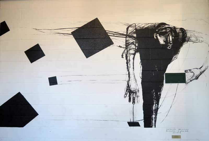 A mural by Natalia Pawlus found at the parking garage adjacent to the Grand Rapids Art Museum inspired me with its sparse composition and dynamic line work.