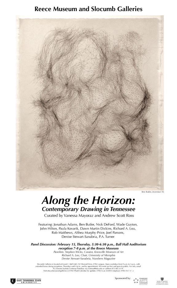 The  Along the Horizon  show opened on January 16 at the Reece Museum at East Tennessee State University in Johnson City Tennessee. The works were all by Memphis artists. I was honored to be included.