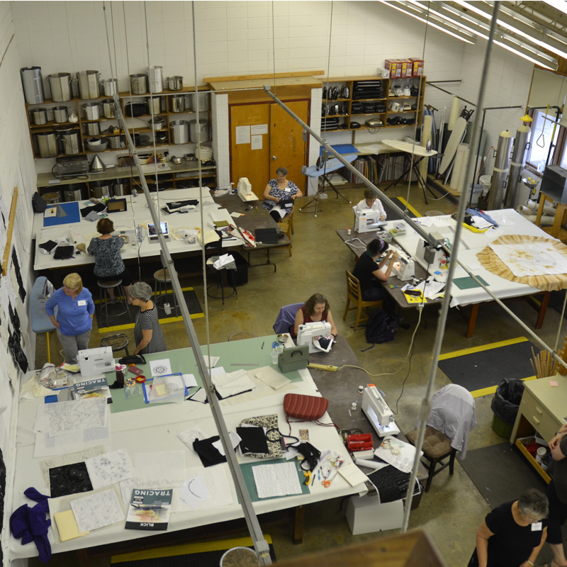 Our workshop from the catwalk above. It's a great space to work in.