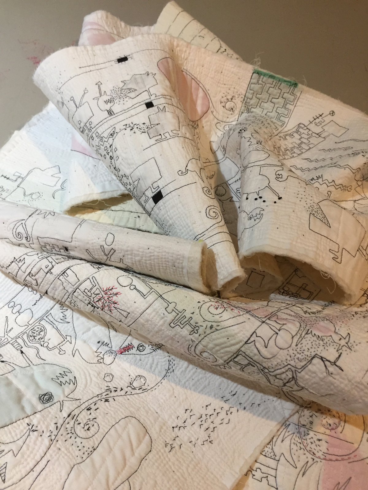 I'm not comfortable if I don't have a project going so when we were preparing for a road trip that would last a few weeks I rolled up the scroll and put it into a bag and carried it with me. Each night I would add more hand stitching.