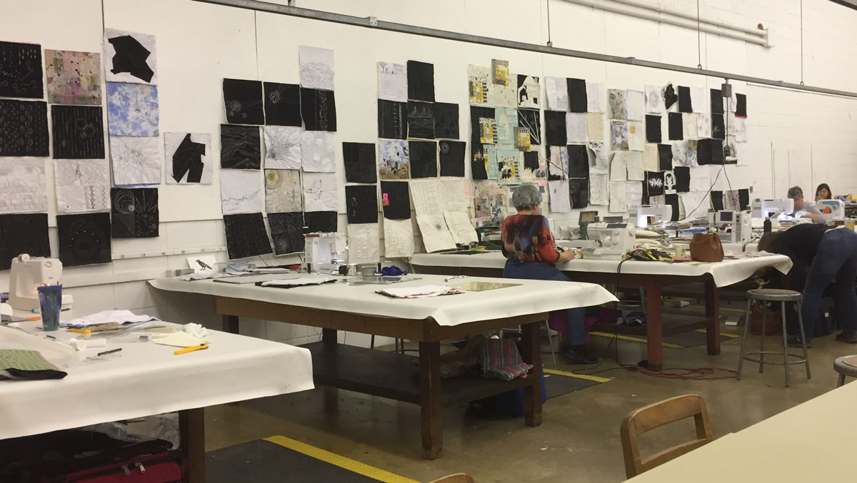 The workshops at Arrowmont give each artist ample space to work and display their stitching.