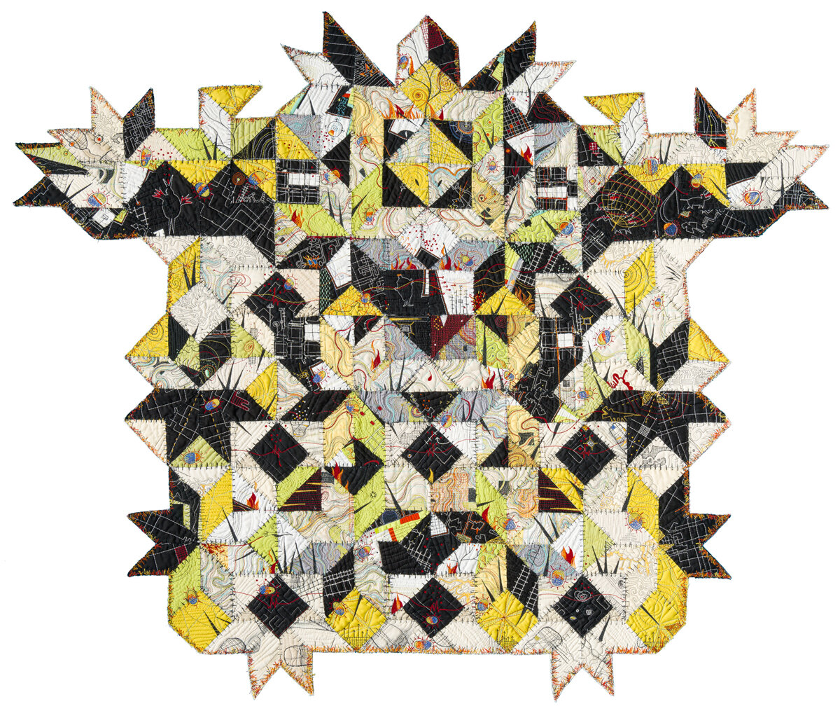 "Overseer , 45"" x 54"", Paula Kovarik. Repurposed quilt pieces over-stitched and re-assembled."