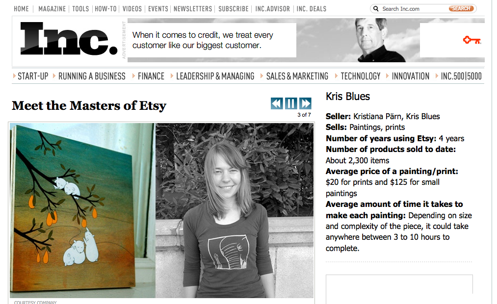 """""""Masters of Etsy""""  Inc. Magazine  featuring Etsy sellers"""