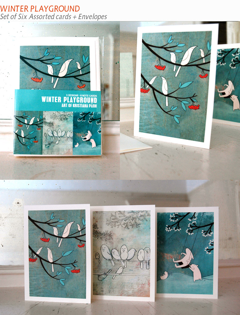winter playground - set of six blank note cards made of 100% cotton and recycled envelopes.