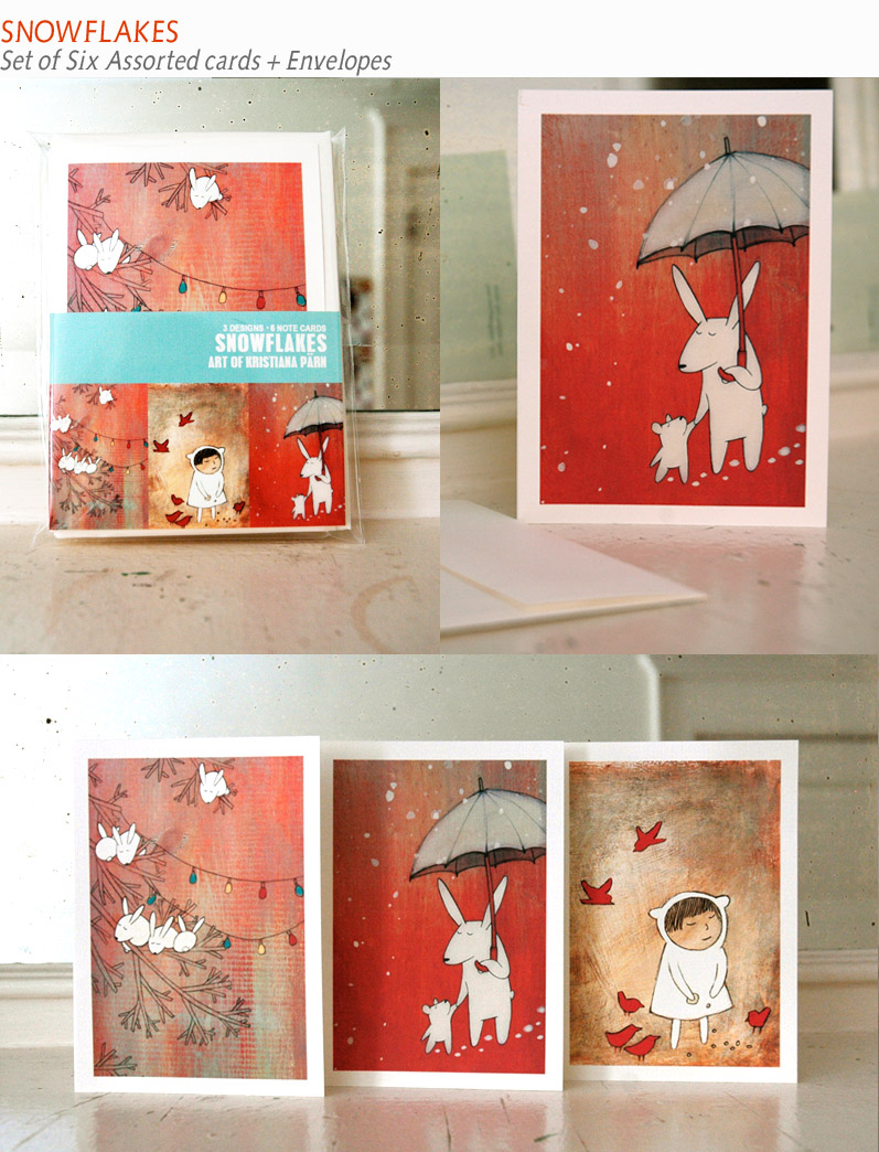 snowflakes- set of six blank note cards made of 100% cotton and recycled envelopes.
