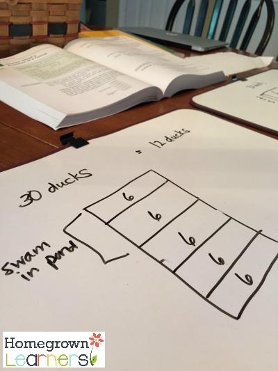 Using white boards during Saxon Math time