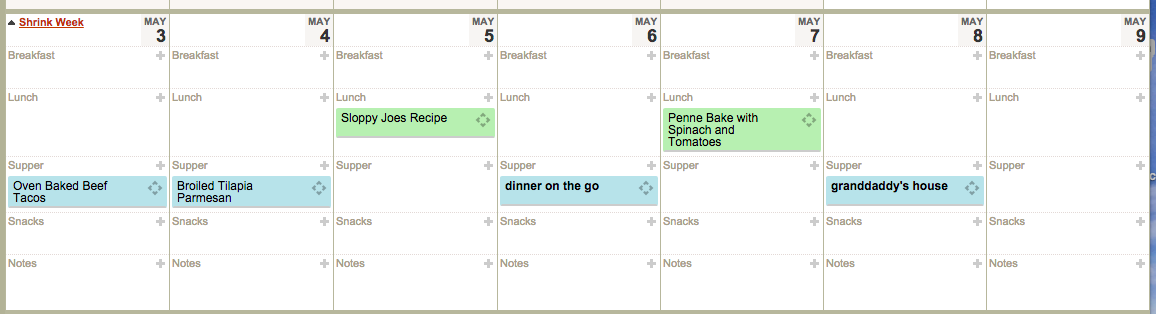 Plan to Eat weekly meal planner