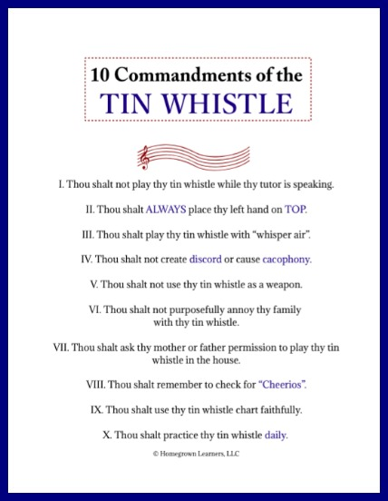 Ten Commandments of the Tin Whistle - free printable from Homegrown Learners