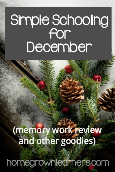 Simple Schooling for December -- memory work review and other goodies