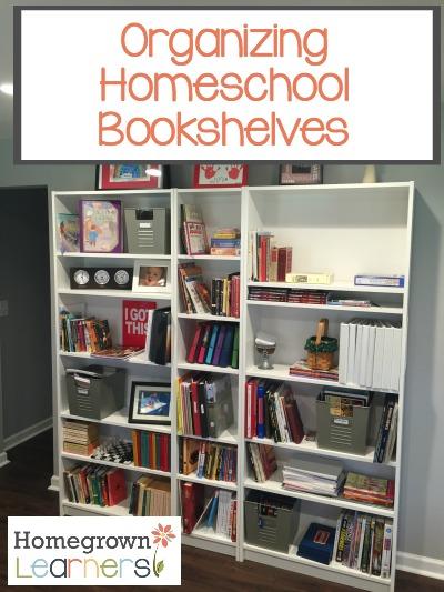 Organizing Homeschool Bookshelves