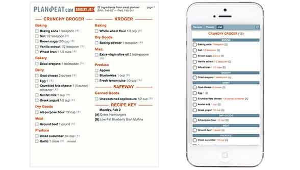 Step Three: Plan to Eat builds your list for you. Access on your phone, PC, or print out.