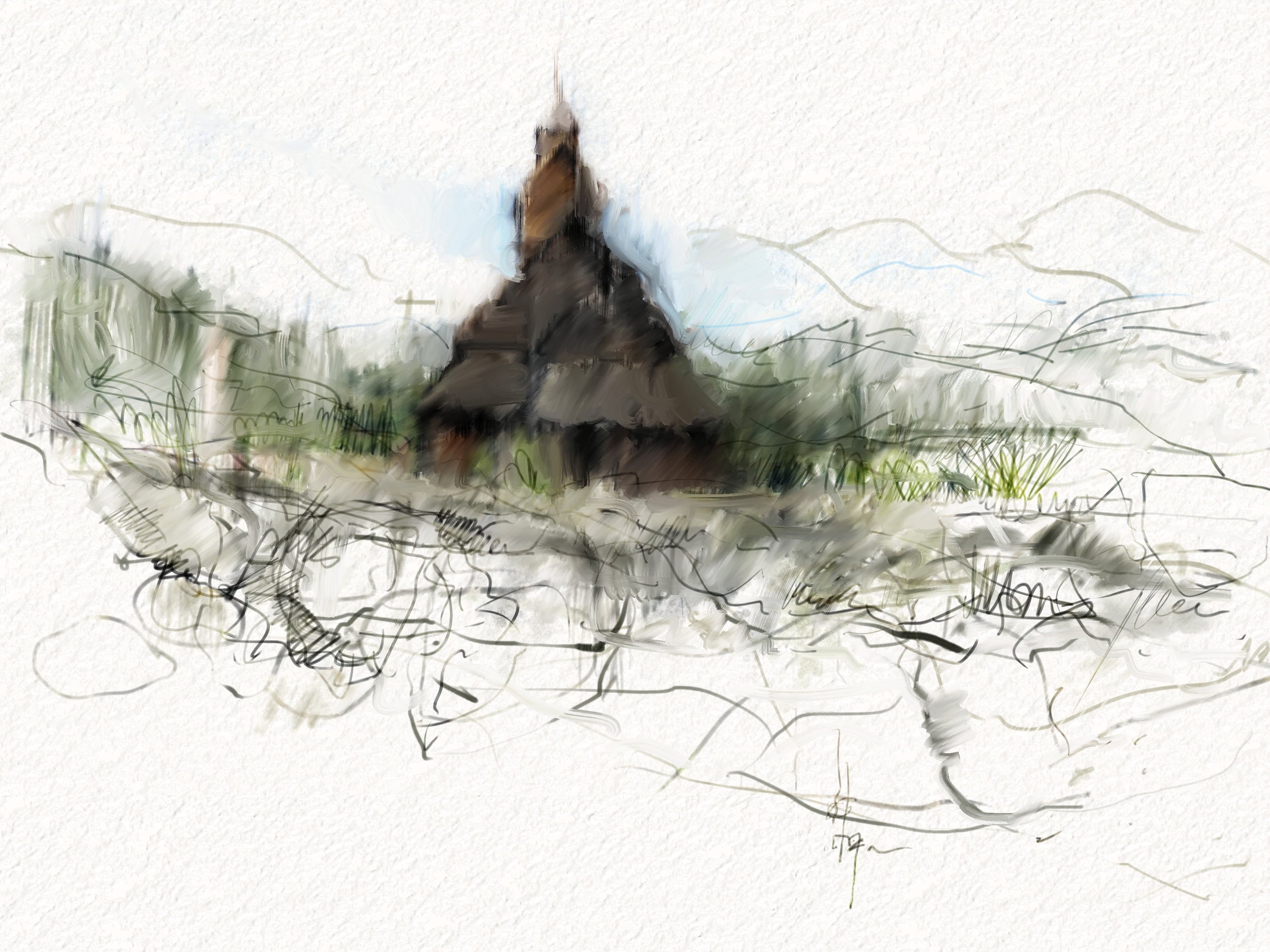 High high high up in the mountains of Norway is this ancient old wooden church. Exactly as you see it in pictures of Norway, only, to be able to actually visit it in person is extraordinary. You step way way way back in time.   Testing out what Coral Painter can do. I feel I have only touched the surface of this digital medium...it's a whole new thing for most artists, myself included. 1 hour sketch, if that.
