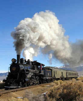 Take a ride on the Ghost Train in Ely, Nevada. Click on the train to visit historic Nevada Northern Railway.