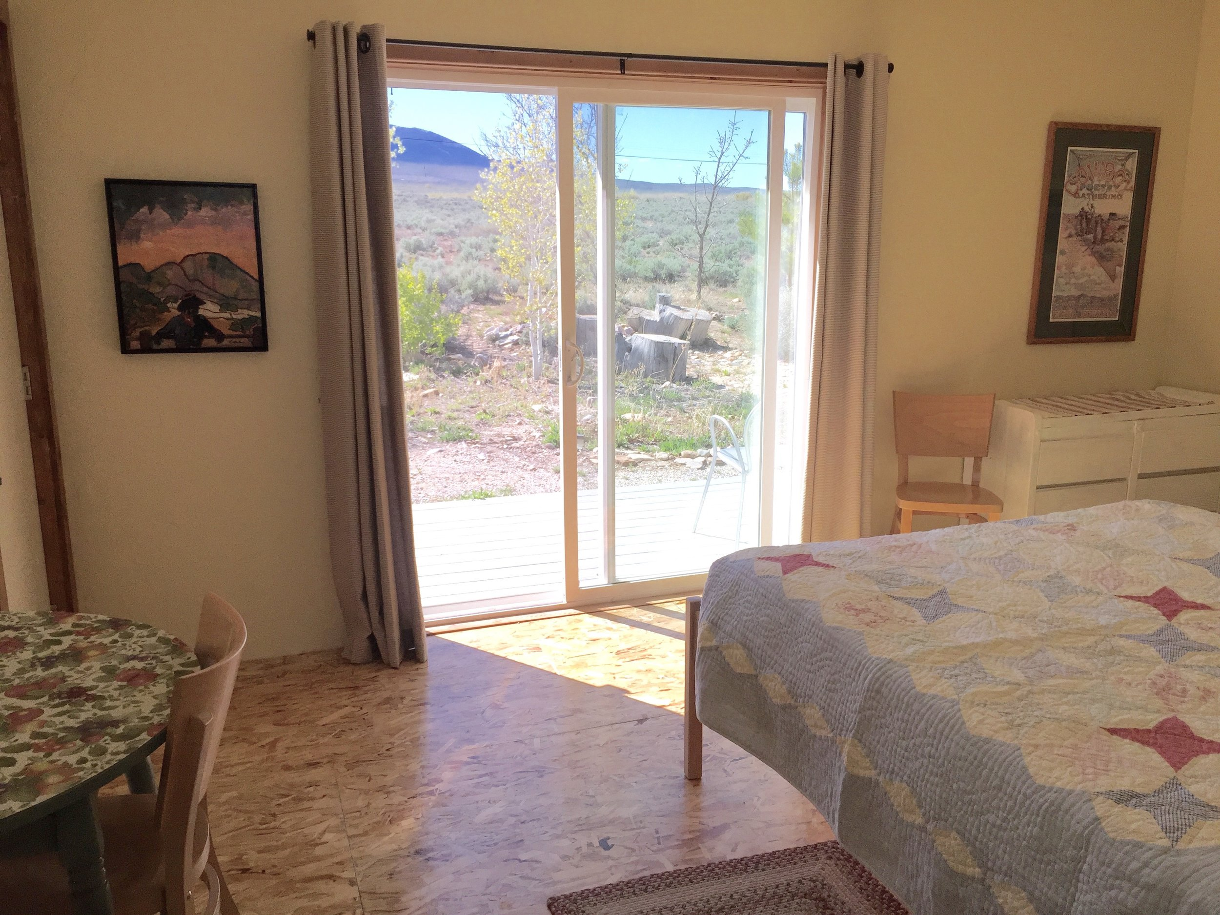 queen-sized bed, great view of great basin national park.