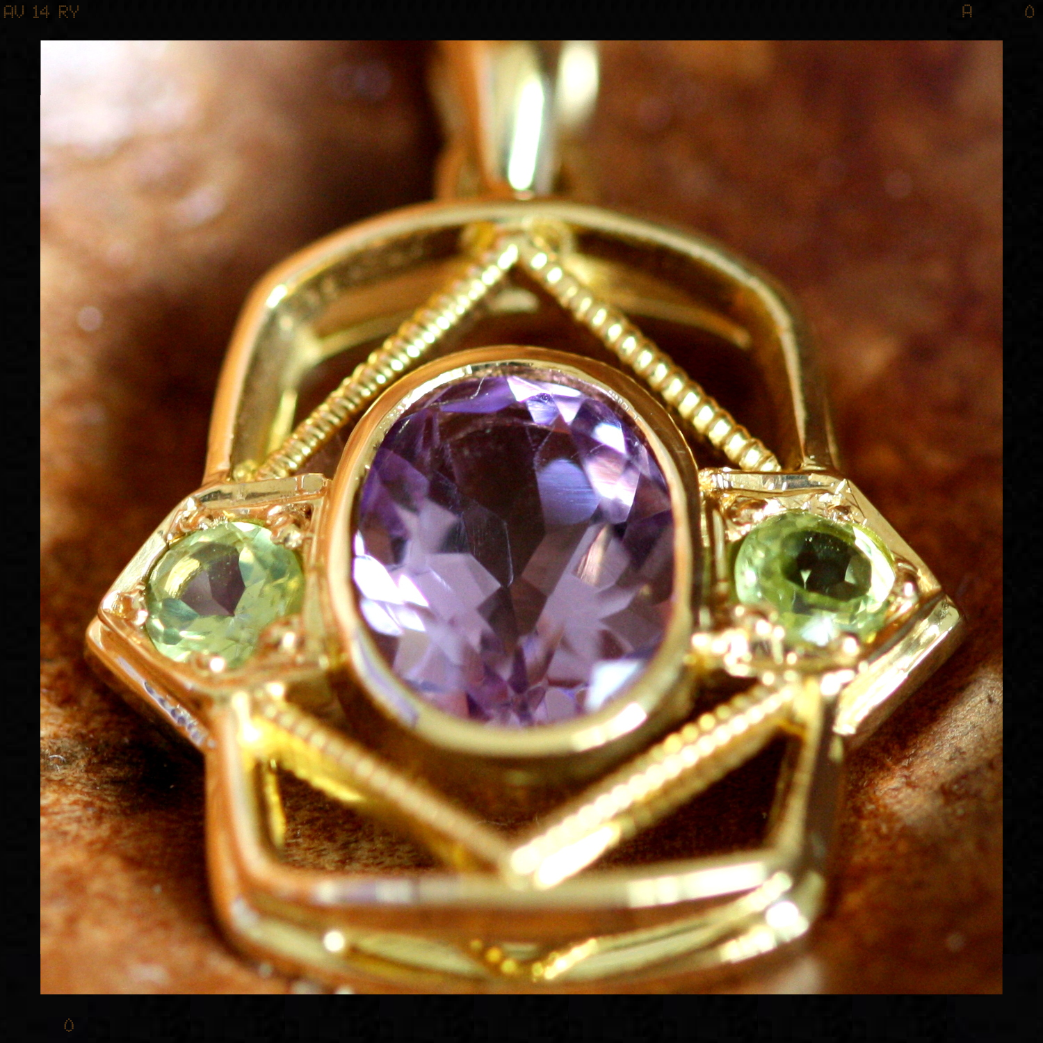 Pendants - Custom Made Amethyst and Peridot gold Pendant