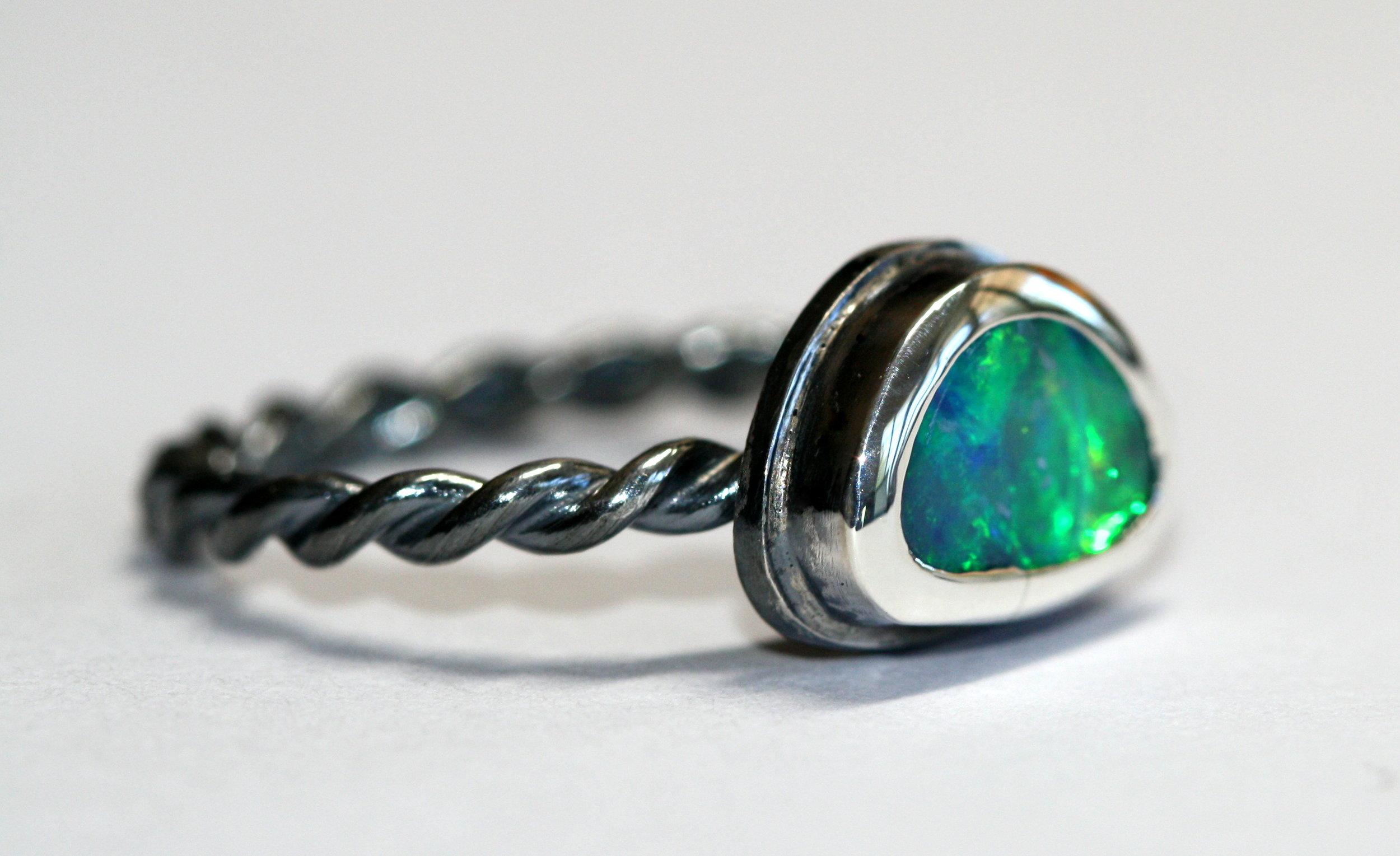 Blue Boulder Opal Silver Twist Ring1.jpg