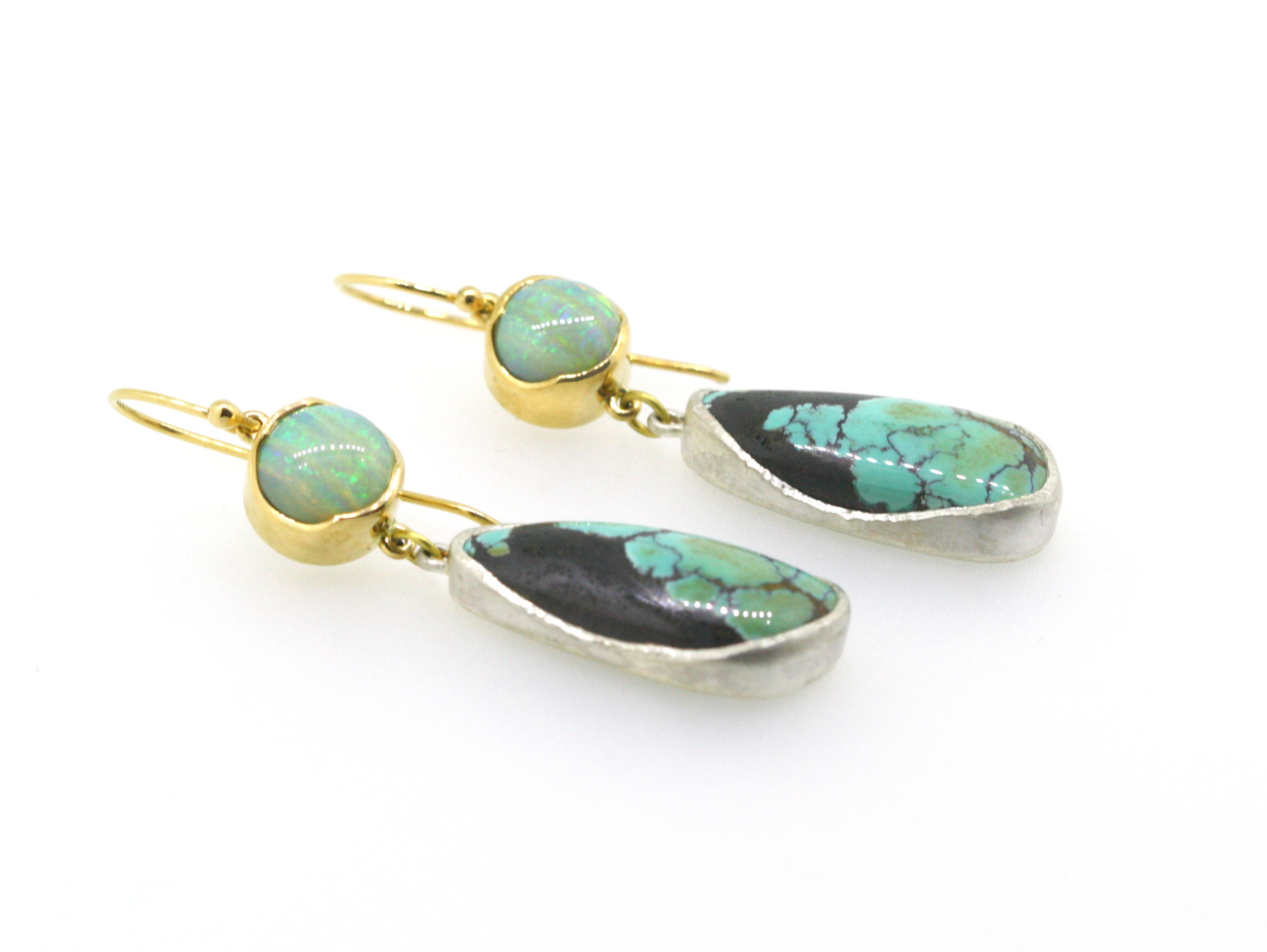 Drop Earrings Turquoise and Boulder Opal