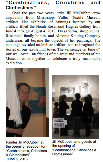 Super article in the 2013 Summer Mississippi Valley Textile Museum newsletter