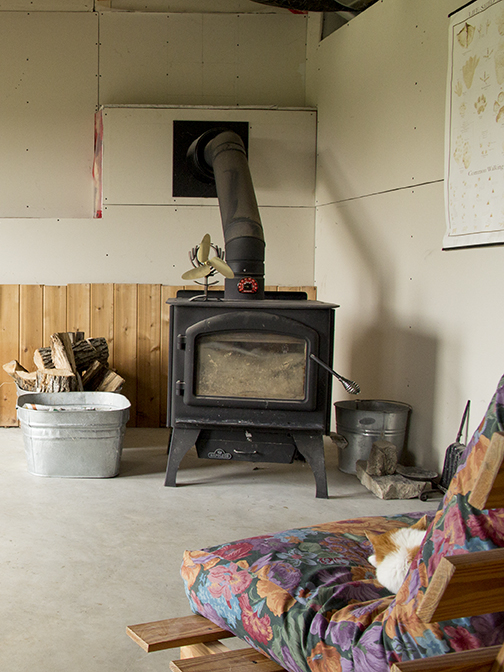 Wood stove in basement. The house is heated by a high-efficiency propane furnace and this high-efficiency stove.