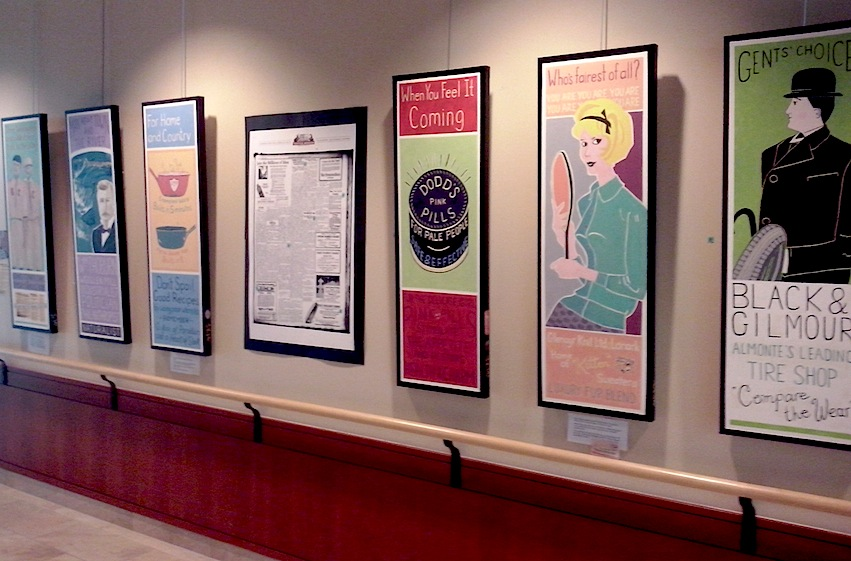 Six of the paintings in the exhibit. The Almonte Gazette from 1924 is visible in the middle of this image.