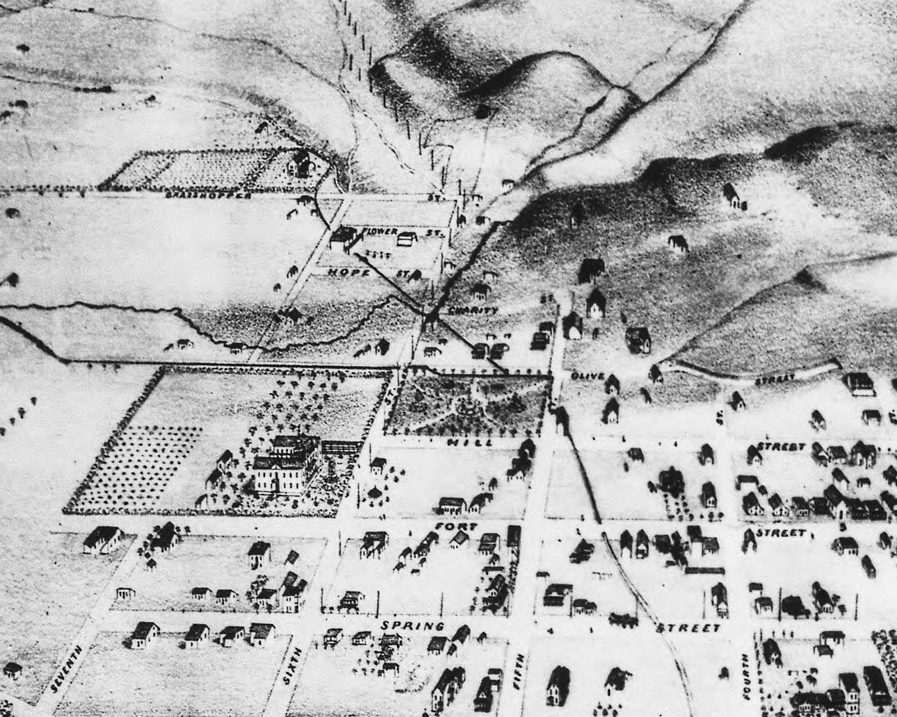 Inset of the park area in 1871. Mary's house is just to the right (north) of the park.