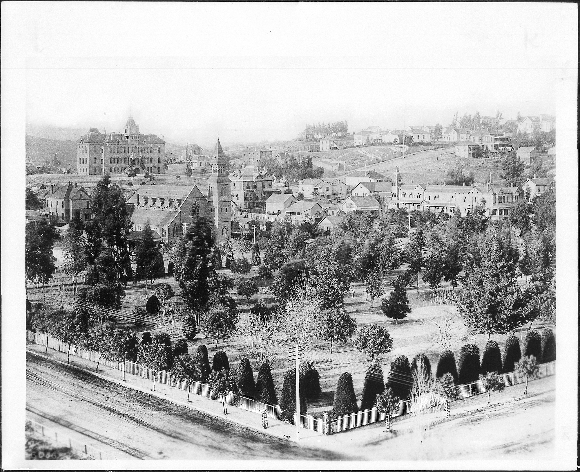 The park in 1872, looking north toward the Normal School and Bunker Hill. Mary's house is out of frame to the right.