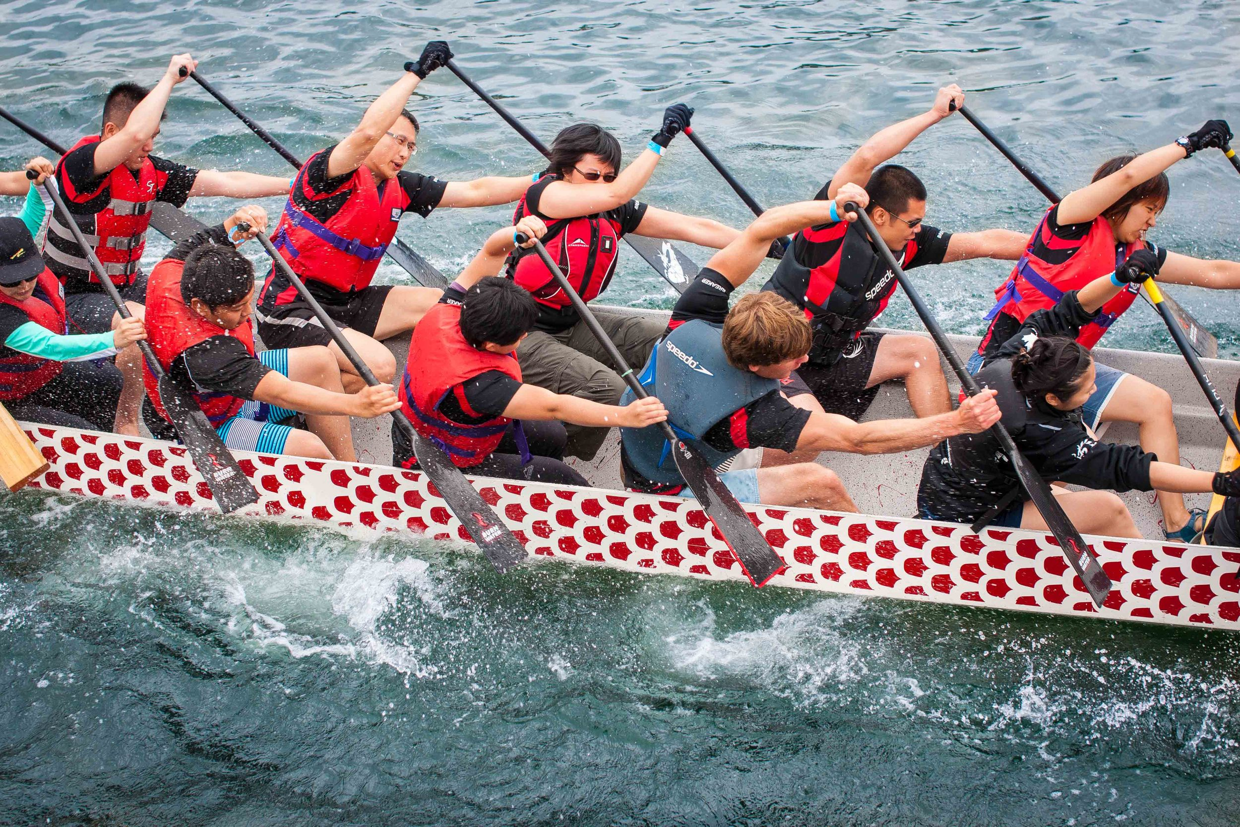 Contra the title of the sport, the boats are neither paddled by dragons, nor made from dragons. Still, a great thing to watch!