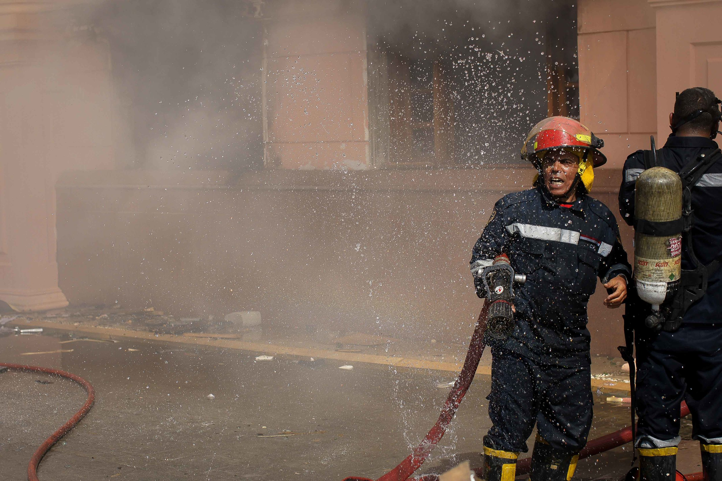 Efforts to extinguish the blaze were hampered by broken or leaking hoses. After about 45 minutes, the firefighters began to gain control over the fire.