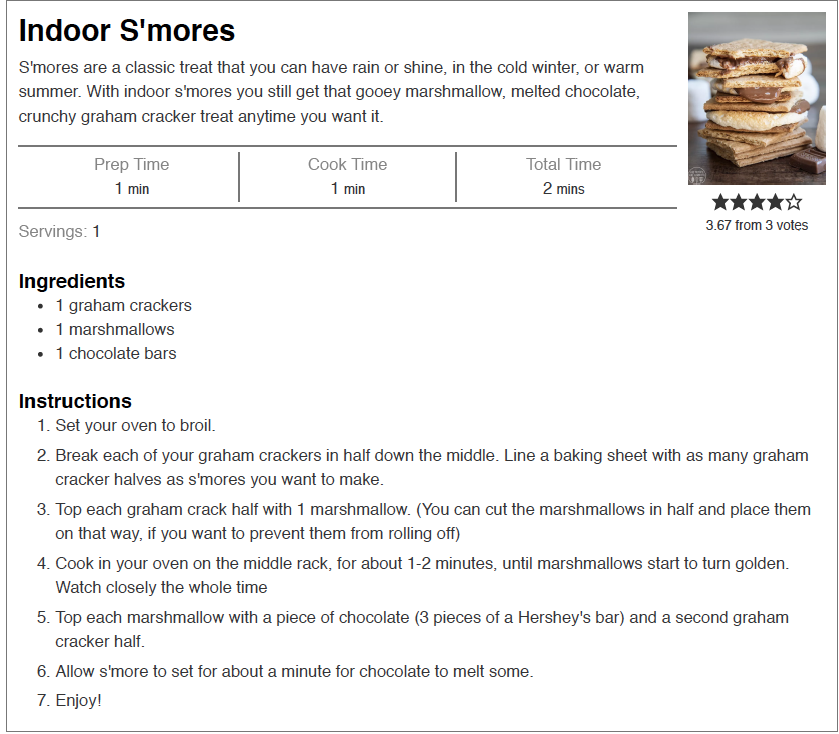 CLICK HERE  to download or print the recipe. We recommend using the oven, but a toaster oven or microwave will work, too. Be sure to watch the marshmallows the entire cook time. If you like them soft and warm, cook at 250 degrees until they are warm. For roasted marshmallows put it on broil and watch them get roasty.