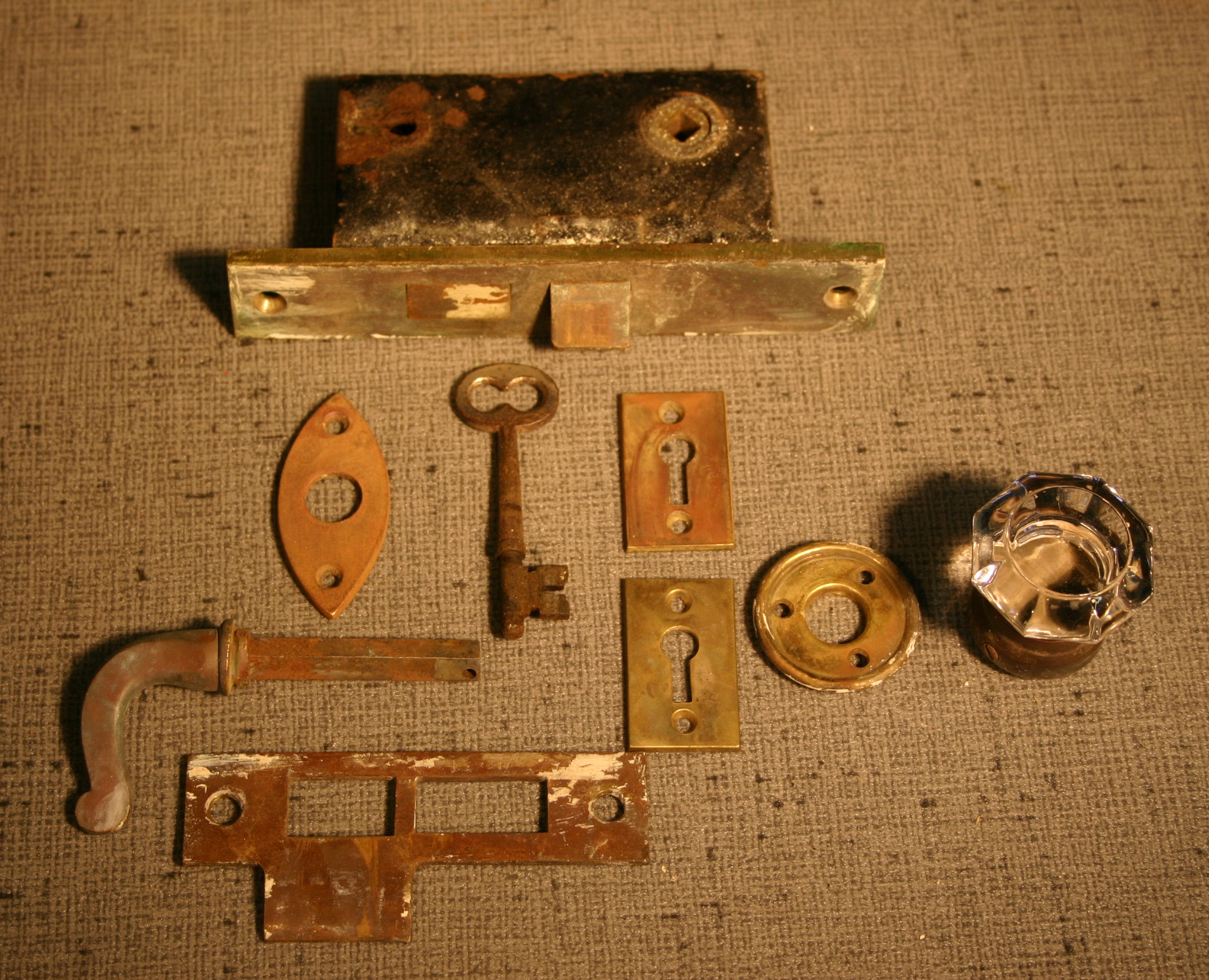 Antique Brass French Door Mortise Set