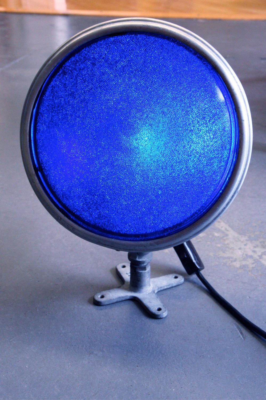 Vintage 1930s Aluminum and Glass Flood Light with Original Cobalt Blue Lense