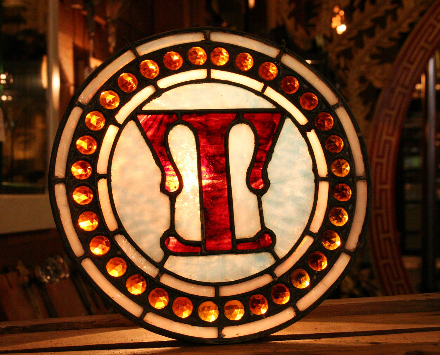 Antique Leaded Stained Glass Letter T