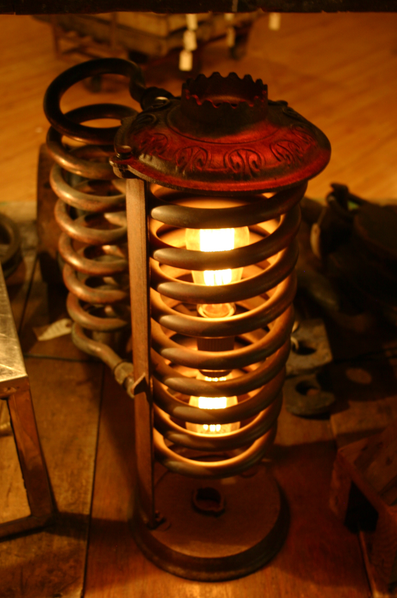 Repurposed Copper Coil Light