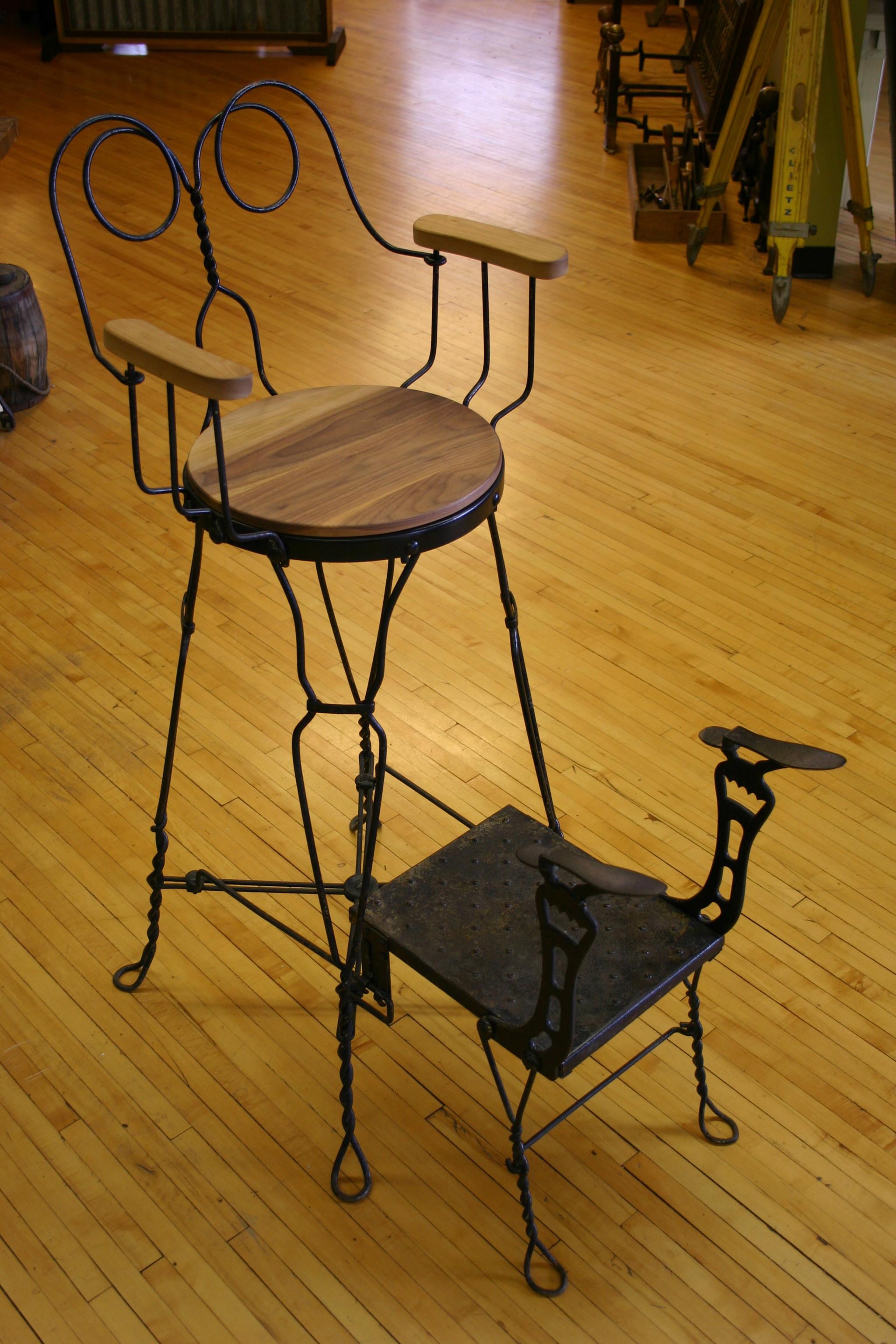 Antique Railroad Shoe Shine Chair