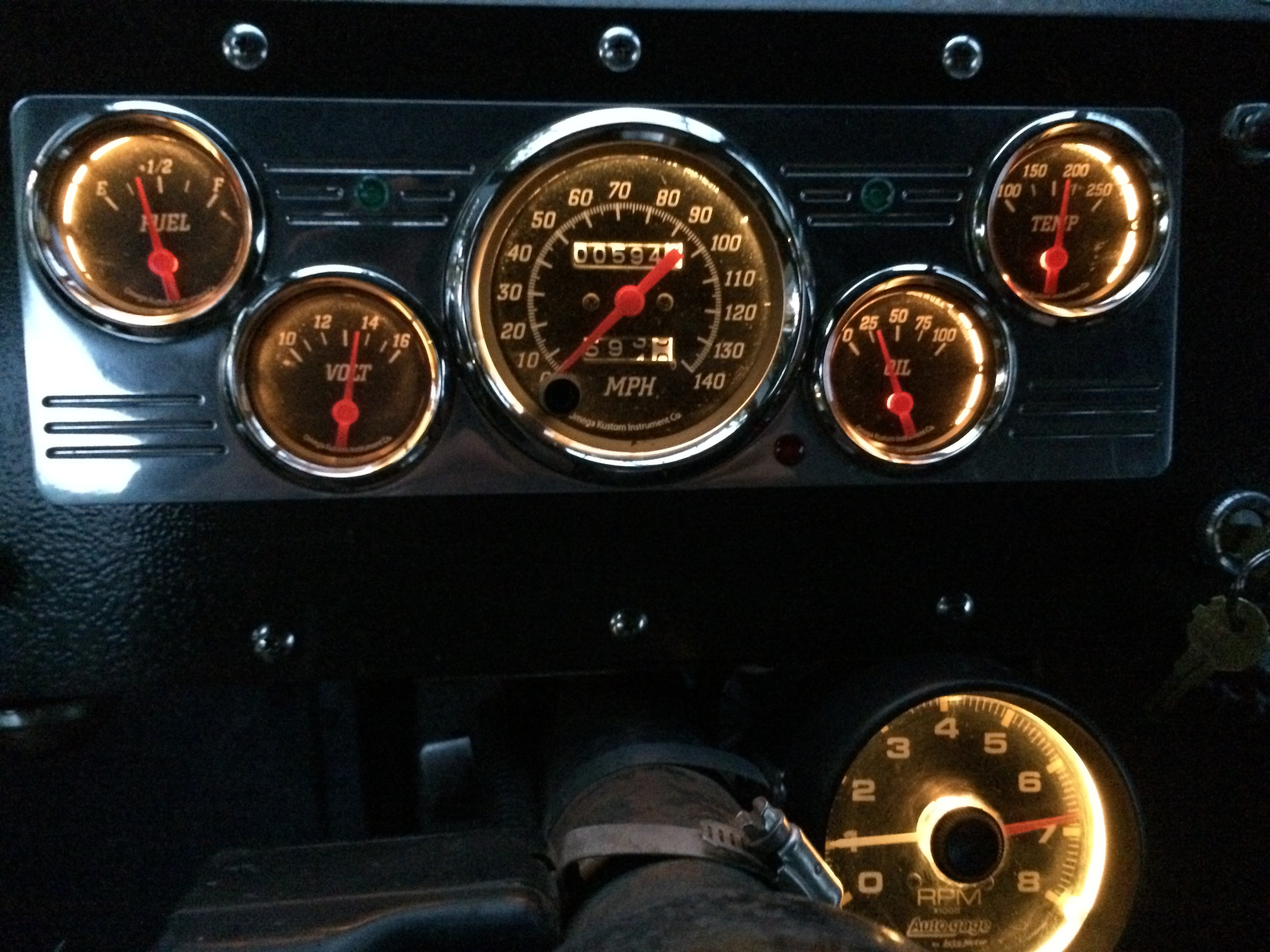 New dash mount and gauges.  Origional mileage unknown.
