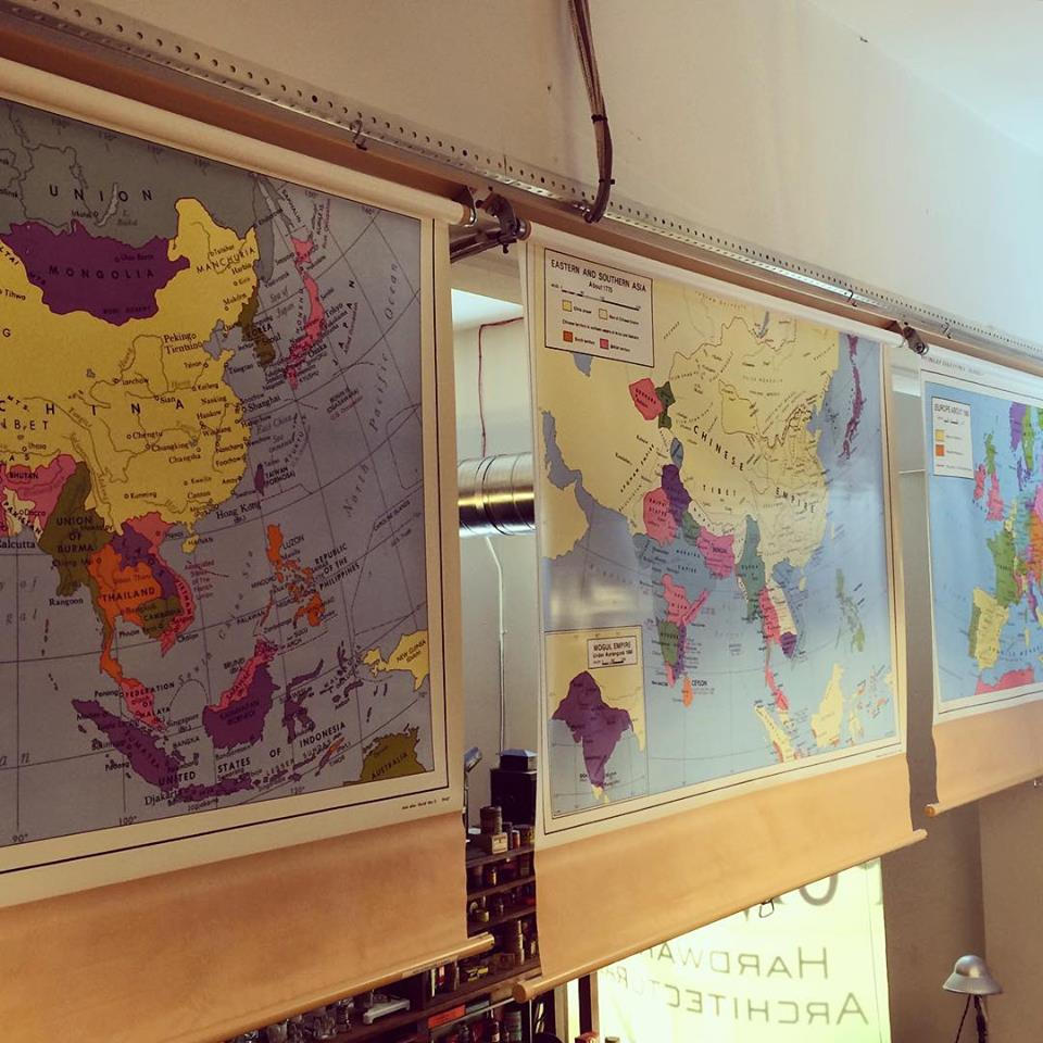 Vintage pull down history maps. SOLD