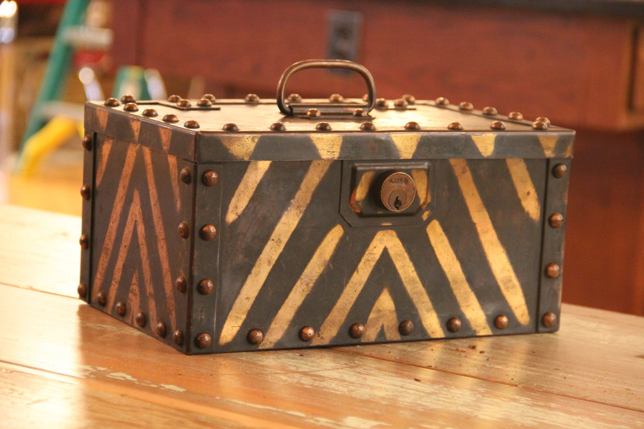 Circa 1905 strongbox with oversized hob nail rivets combined and Japanned copper detail! SOLD